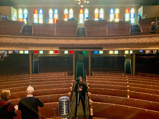 Standing on stage at the Ryman